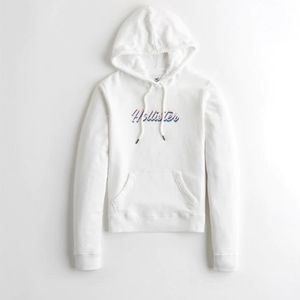 Nwt Womens Hollister White Pullover Logo  Hoodie